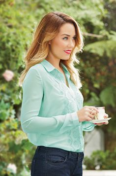 Lauren Conrad's Spring Collection for Kohl's: See the Looks! Embroidered-Front Blouse $44 at Kohl's in March.