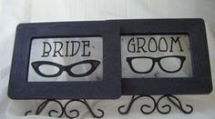 Wedding Signage Retro Eyeglasses Antiqued Mirror in Black Frame