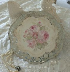 My  shabby chic pink cabbage rose tray, available at www.debicoules.com