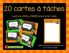 Cartes à tâches de lecture pour le 1er cycle! Cycle, Grade 1, Halloween, Compliments, Literacy, Teacher, School, Boutique, French Posters
