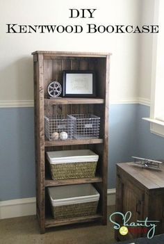 DIY Kentwood Bookcase, nightstand. Really like the bed frame!