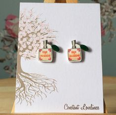 L'Aire de Panache parfume bottle Earrings - Digitally Drawn Plastic Earrings on silver plated drop earrings The Grand Budapest Hotel Inspire
