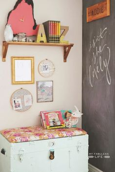 I adore this chalkboard wall. This is a BEAUTIFUL vintage mod mix room!