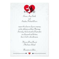 "Tandem Bicycle Bride and Groom Wedding Invitation 5"" X 7"" Invitation Card"