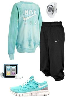 Women's exercise blue nike outfit