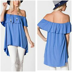 ** The Beth Tunic Size M Beautiful ruffled Tunic in a cool blue shade  Can be worn on shoulders or off  Material is rayon and spandex Boutique quality   Sizes M  Also available in BLACK  Price Firm unless bundled Boutique  Tops Tunics