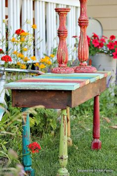 Salvaged spindle side table by Beyond the Picket Fence