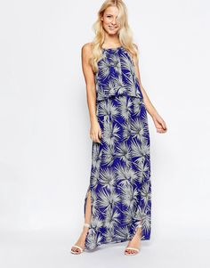 Parisian+Overlay+Maxi+Dress+in+Palm+Print