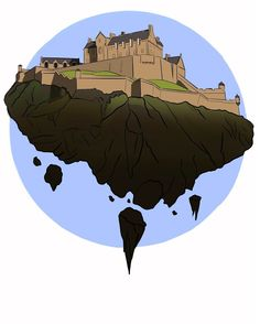 Floating Edinburgh Castle  by @kirstiecatlady  http://www.redbubble.com/people/kirstiecatlady/works/25168777-floating-edinburgh-castle #Scotland #digitalart #art #Edinburghcastle #floatingcastle #Edinburgh
