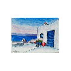 (Ελληνικά) Χειροποίητος πίνακας ζωγραφικής με τοπίο πάνω σε ξύλο ζωγραφισμένο με λαδομπογιάδες Under Construction, Greek, Museum, Paintings, Baseball Cards, Places, Frame, Handmade, Home Decor