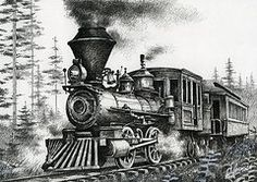 Pen And Ink Drawings - Historic Steam by James Williamson