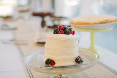 One-Tier Berry Wedding Cake:  pedestal stand with square cake plate on top...