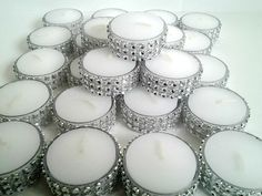 Tealight  Fresh Linen Scent Silver Bling Tealight Candles Rhinestone Diamond Wedding or Party Tealights 25 Pc Lot. $18.95, via Etsy.