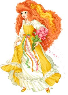 Maiden CurlyCrown - another friend of Lady Lovely Locks who wears a yellow dress and has her orange hair done in curls. She is a funny and imaginative girl who loves making up stories and styling her hair, but would sometimes get herself in trouble.