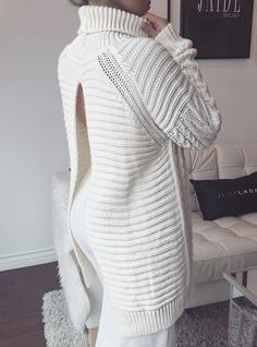 Ivory Cable Knit Open in the Back Turtleneck Sweater - New