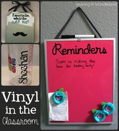 cricut vinyl projects I'm back in school today! I'm nervous and excited to meet my new kids! I've been working away this weekend getting some vinyl projects done and here they are Classroom Projects, Classroom Design, Classroom Ideas, Future Classroom, Classroom Organization, Organizing, Classroom Inspiration, Vinyl Crafts, Vinyl Projects