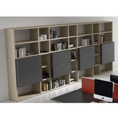 ATREO high library wall with open and closed space Library Wall, Desk, Shelves, Space, Home Decor, Writing Table, Shelving, Display, Desktop