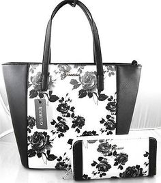 AUTHENTIC NEW NWT GUESS SONJA BLACK WHITE TOTE BAG PURSE  amp  WALLET Guess  Purses 6ecdaae512a49