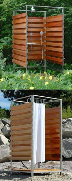 32 inspiring DIY outdoor showers: lots of ideas on how to build enclosures with simple materials, best outdoor shower fixtures, creative designs and more! Outdoor Shower Fixtures, Outdoor Shower Kits, Outdoor Shower Enclosure, Pool Shower, Garden Shower, Outdoor Bathrooms, Diy Shower, Outdoor Showers, Shower Ideas