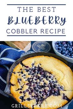 This is the best blueberry cobbler recipe! It's simple, easy, and can be popped into the grill or smoker while you're eating dinner, using residual heat from the meal you just cooked. I love using fresh berries when possible. I try to take advantage of any chance I get to support a local vendor at a farmers market, etc. Blueberry Cobbler Recipes, Blueberry Desserts, Grilled Desserts, Easy Desserts, Batter Mix, How To Cook Steak, Just Cooking, Stick Of Butter, Original Recipe