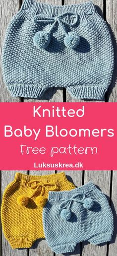 Free knitting pattern for knitted baby bloomers / knitted baby shorts / knitted baby pants. Easy and fun to knit. Free knitting pattern for knitted baby bloomers / knitted baby shorts / knitted baby pants. Easy and fun to knit. Baby Shorts, Knit Baby Pants, Knit Baby Dress, Knitted Baby Cardigan, Knit For Baby, Knit Baby Shoes, Baby Vest, Knit Shorts, Baby Bloomers Pattern