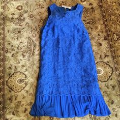 Cute and comfy KENSIE lacy trapeze dress, L SALE! Royal blue lace over jersey make this Kensie trapeze dress super comfy. The black outside zipper makes it fashion forward. Worn just once. No rips, tears or stains. Hits just above the knee. Can't ship until 6/1 Kensie Dresses Midi