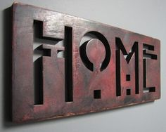 HOME Hand-painted Oak Sign Dark Rose, heavy distressed