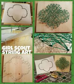Girl Scout Trefoil String Art Enjoy some wood working, using tools and making art. This project size Girl Scout Swap, Girl Scout Leader, Girl Scout Troop, Junior Girl Scout Badges, Brownie Girl Scouts, Girl Scout Cookies, Girl Scout Trefoil, Girl Scout Bridging, Girl Scouts Of America