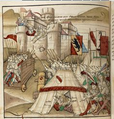 Medieval illustration showing a siege. Note the couple canoodling in the tent, circa 1478-1483. (Diebold Schilling: Amtliche Berner Chronik, Bd. ??, S. ????. Um 1478-1483)