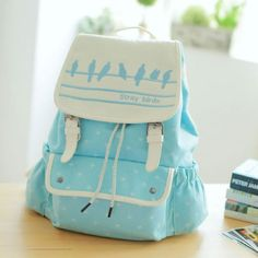 Cute Light Blue Backpack with White, Bird Design on Top Flap <3 <3 <3
