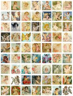 digital download or digital collage of 63 one inch by one inch fairies, cupid, angels  and cherubs...$3.50