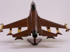 F-16 Falcon Fighter Wooden Jet Military Aircraft- Beautiful Handcrafted Mahogany Model For Display on Etsy, $69.95