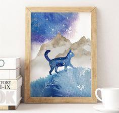 Watercolor Cat Print, Printable Cat Lover Wall Art, Cosmic Home Decor, Constellation Cat Art Print I
