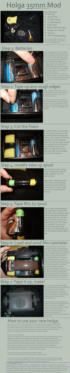 """""""..35mm Holga Mod Tutorial by *OmahaNebraska is an excellent tutorial for modifying your 120 Holga into a 35mm Holga! DIY photography at it's best!..."""" *can also switch back-cool stuff!* <3"""