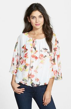 Vince+Camuto+'Broken+Photo'+Floral+Print+Peasant+Blouse+available+at+#Nordstrom