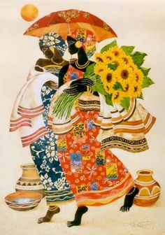 Sunflowers Canvas Art - Keith Mallett x African American Art, American Artists, Sunflower Canvas, Art Students League, Africa Art, Canadian Art, Decoupage, Counted Cross Stitch Patterns, Stretched Canvas Prints