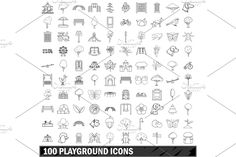 Butterfly Design, Icon Set, Playground, Outline, The 100, Words, Illustration, Style, Children Playground