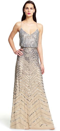 Adrianna Papell | Chevron Beaded Blouson Gown