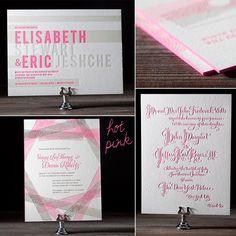 Top 2012 Wedding Trends: Neon Letterpress | Letterpress wedding invitation inspiration | Bella Figura