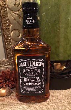 Will you be my Groomsmen Whiskey Labels | Fits Jack Daniels 750mL bottles | $7