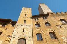 Medieval Towers around Plazza Duomo - San Gimignano - Italy  San Gimignano Towers