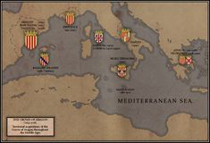 The Crown of Aragon by Rarayn on DeviantArt United States Cities, Study History, History Timeline, Alternate History, Fantasy Map, Sad Day, Balearic Islands, European History, Vintage Maps