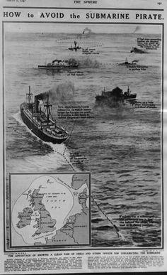WW1, 1916, 'The Sphere': How to avoid German submarines in the Atlantic Ocean…