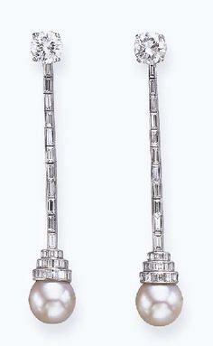 A PAIR OF CULTURED PEARL AND DIAMOND EAR PENDANTS, BY VAN CLEEF & ARPELS  Each suspending a cultured pearl, measuring approximately 11.10 mm, to the three-tiered rectangular-cut diamond top, with a baguette-cut diamond line and circular-cut diamond surmount, mounted in platinum  Signed Van Cleef & Arpels, N.Y., no. 21226