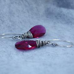 Wire Wrapped Ruby Red Swarovski Briolette Earrings Wire by gbjewel