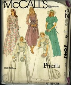 McCalls Wedding Dress Pattern Priscilla Pattern by TheIDconnection, $40.00