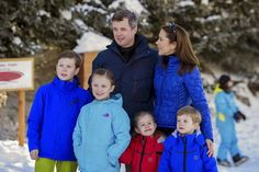 Crown Prince Frederik of Denmark and Crown Princess Mary of Denmark with their children Prince Christian, Princess Isabella, Prince Vincent and Princess Josehpine for the media during their holiday in Verbier, Switzerland on February 08, 2015