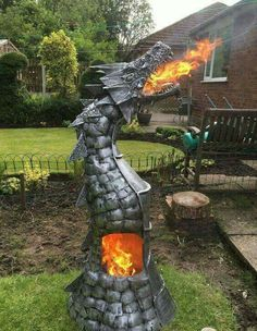 Fire breathing dragon wood burning fire pit