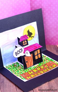 Halloween Pop Up Card Template - Easy Peasy and Fun Halloween Art Projects, Easy Halloween Crafts, Halloween Ideas, Art Lessons For Kids, Art For Kids, Diy Pop Up Cards Templates, Halloween Pop Up Cards, Kids Art Galleries, Birthday Card Template