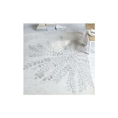 West Elm Frond Wool Rug, Platinum, 3'x5' (1,095 CNY) ❤ liked on Polyvore featuring home, rugs, grey, floral rug, grey area rug, gray area rug, gray rug and west elm rugs